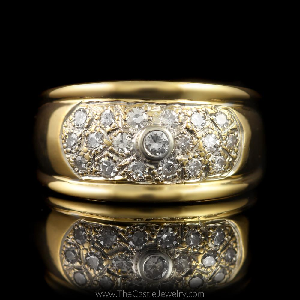 Wide Pave & Bezel Set 1/2cttw Diamond Band in 14K Yellow Gold