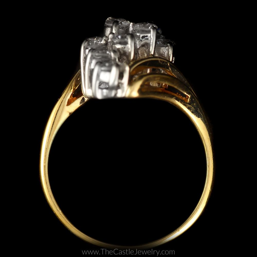 Round Diamond 1cttw Waterfall Cluster Bypass Mounting in 14K Yellow Gold-1
