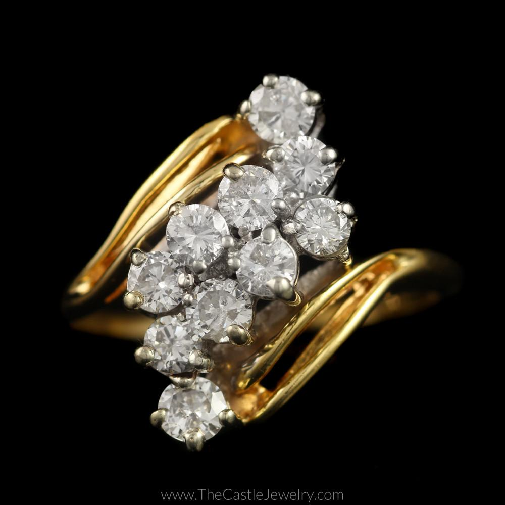 Round Diamond 1cttw Waterfall Cluster Bypass Mounting in 14K Yellow Gold
