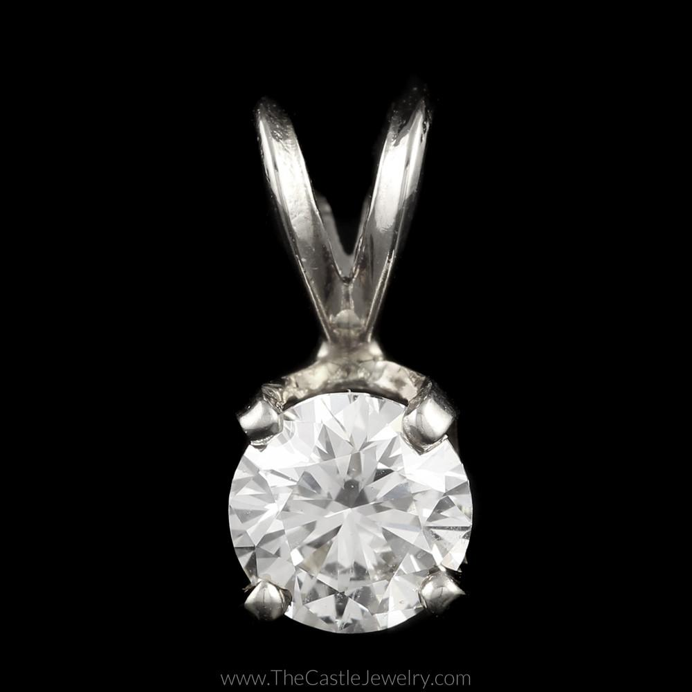Stunning Round Brilliant Cut Diamond Solitaire Pendant .75ct in 14K White Gold