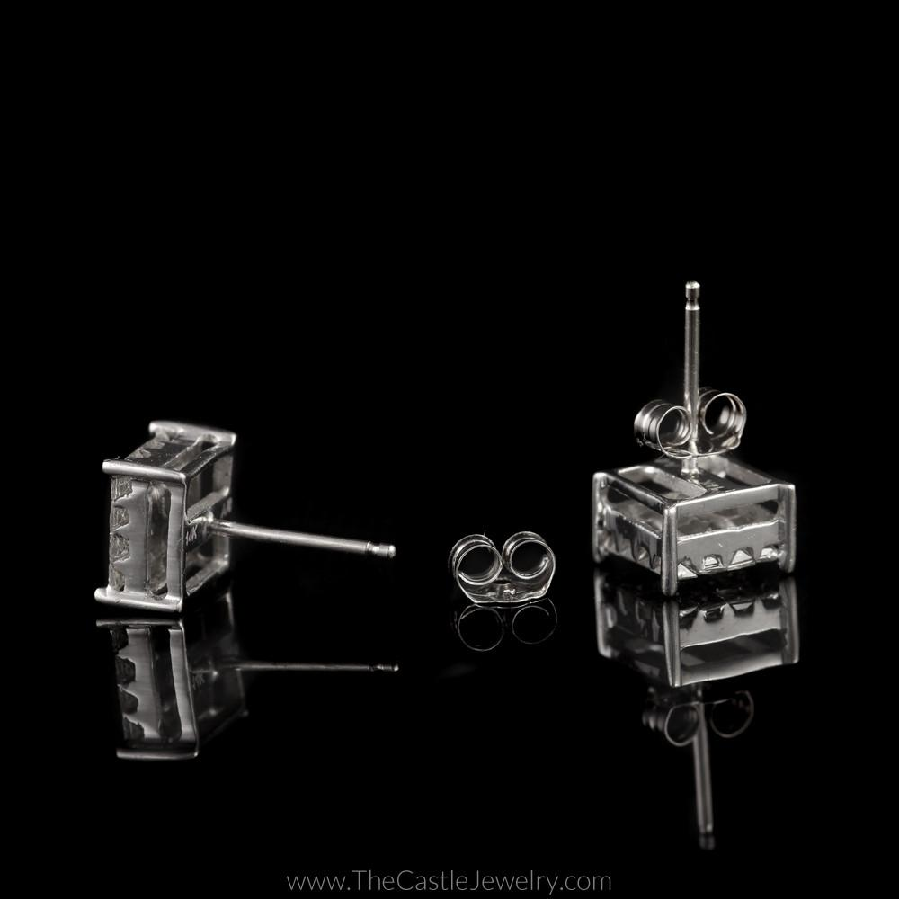Square Shaped Invisible Set 1cttw Princess Cut Diamond Studs in 14K White Gold-1