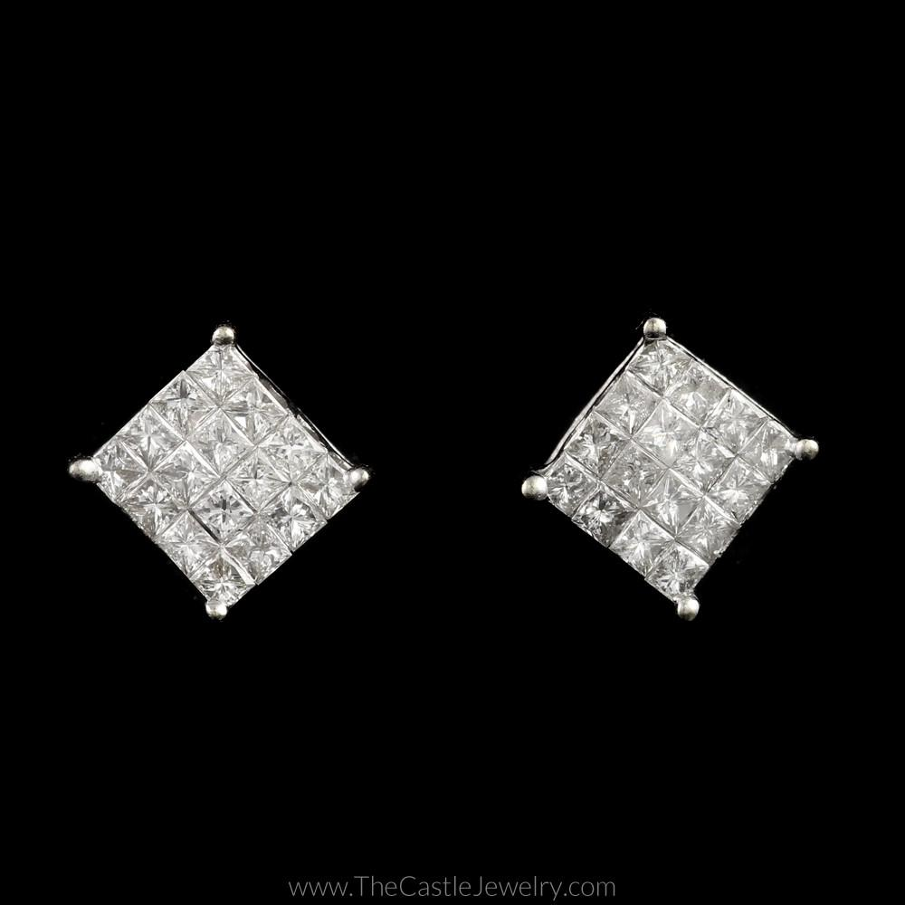 Square Shaped Invisible Set 1cttw Princess Cut Diamond Studs in 14K White Gold