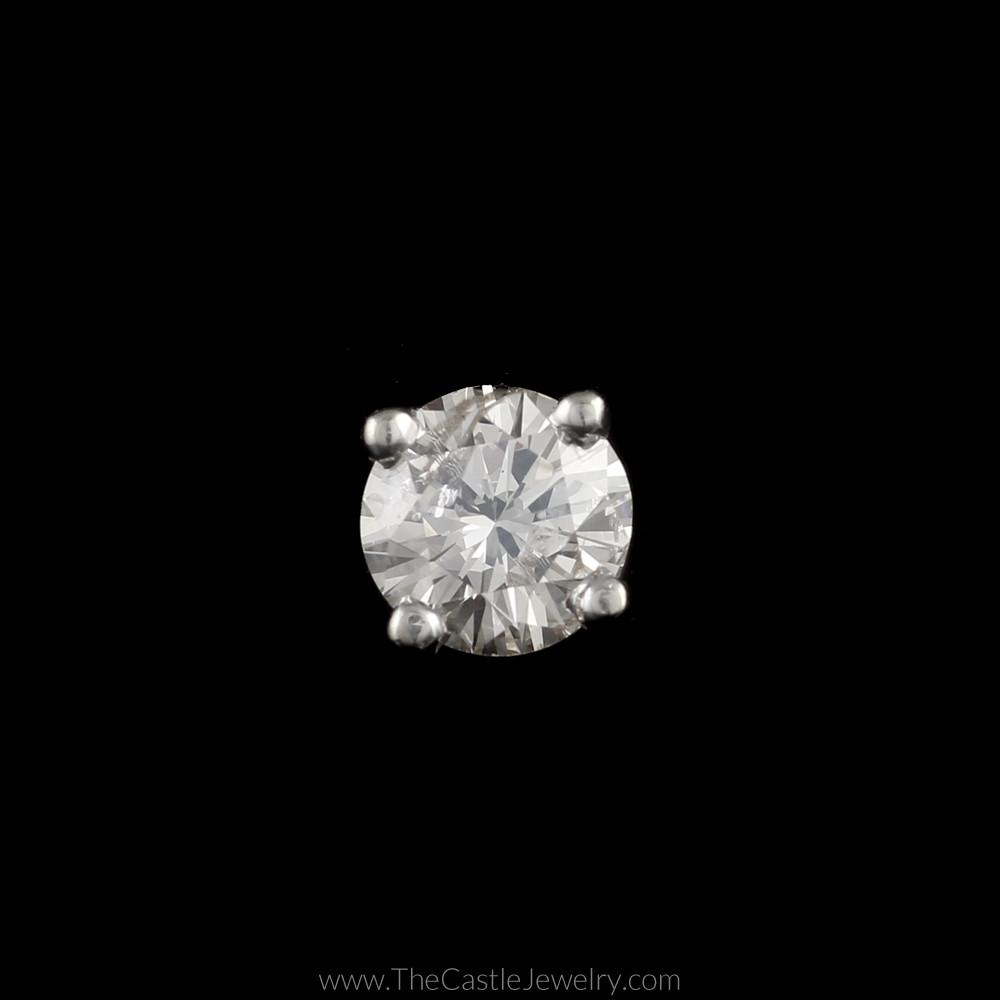 Single Round Brilliant Cut .47ct Diamond Stud in 14K White Gold