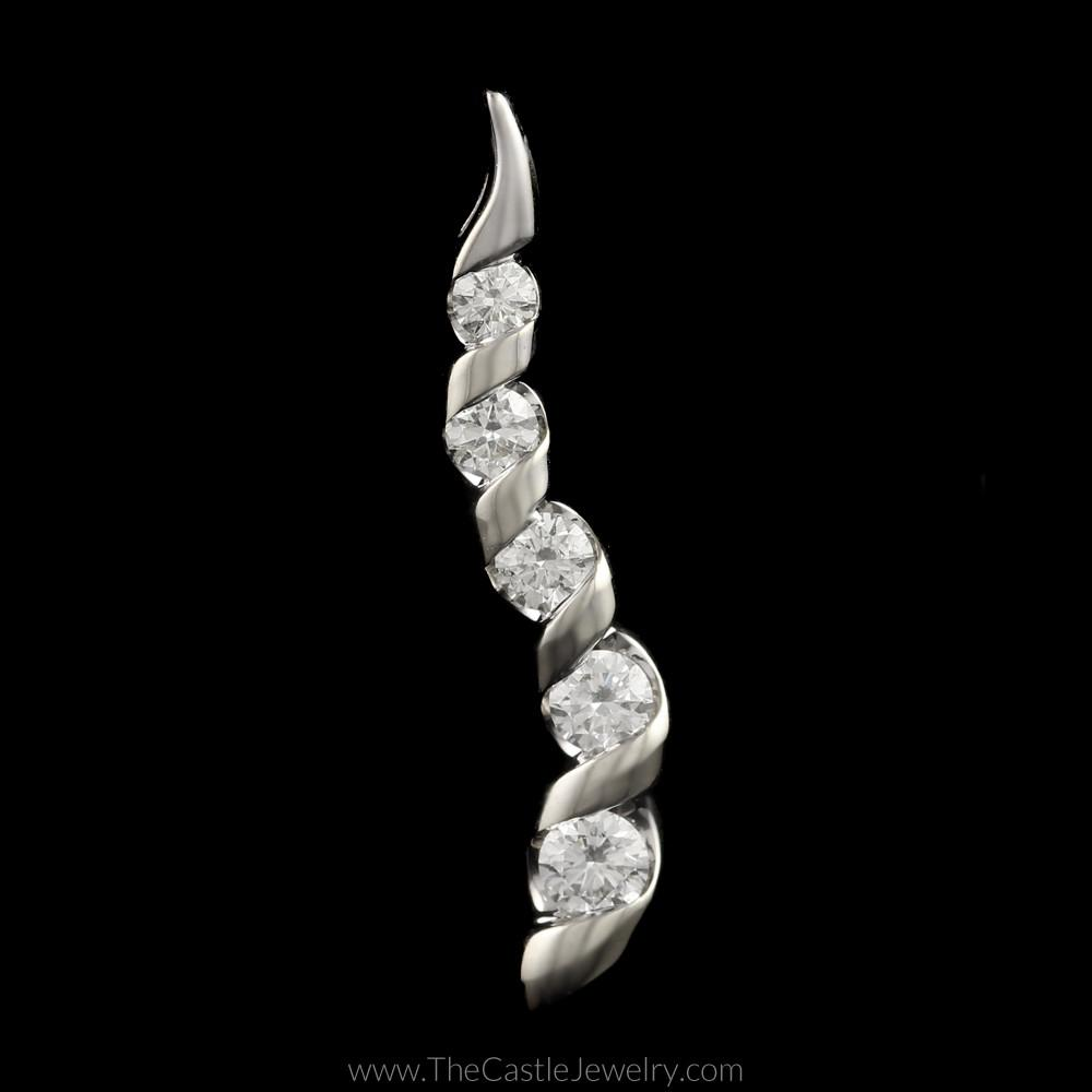 Twisted Swirl Design 1/5cttw Diamond Pendant in 14K White Gold