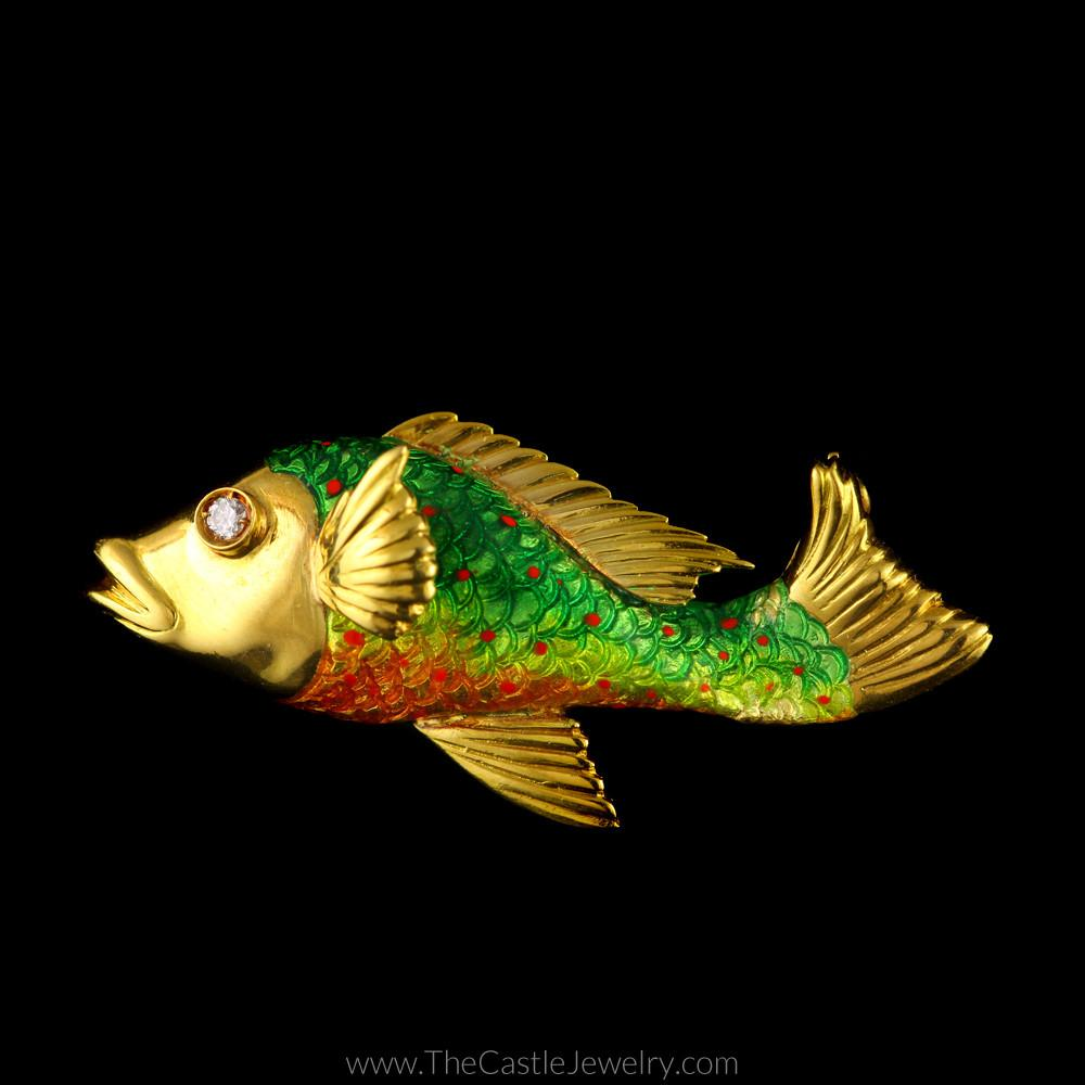 Unique Fish Pin with Green, Yellow, & Orange Enamel in 18K Yellow Gold