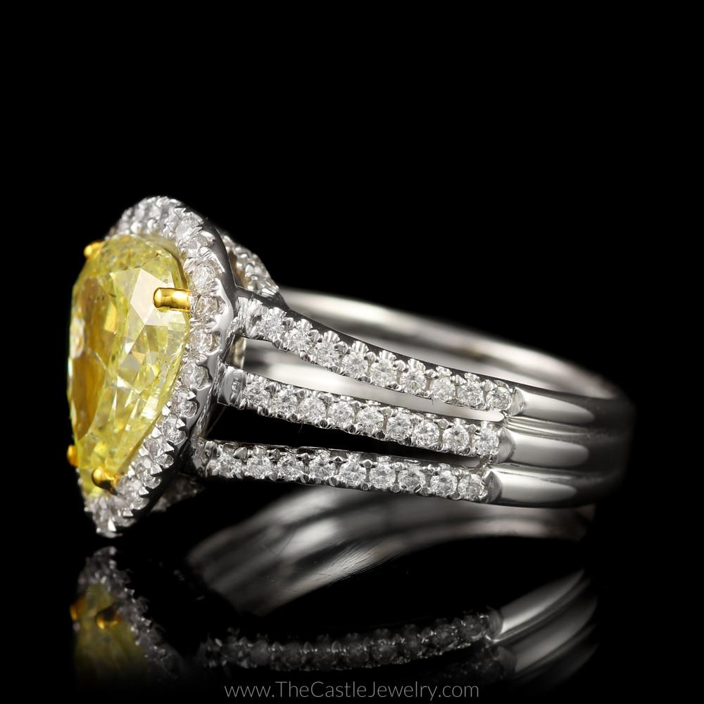Natural Yellow Diamond Engagement Ring w/ Diamond Accents in 18K White Gold-2