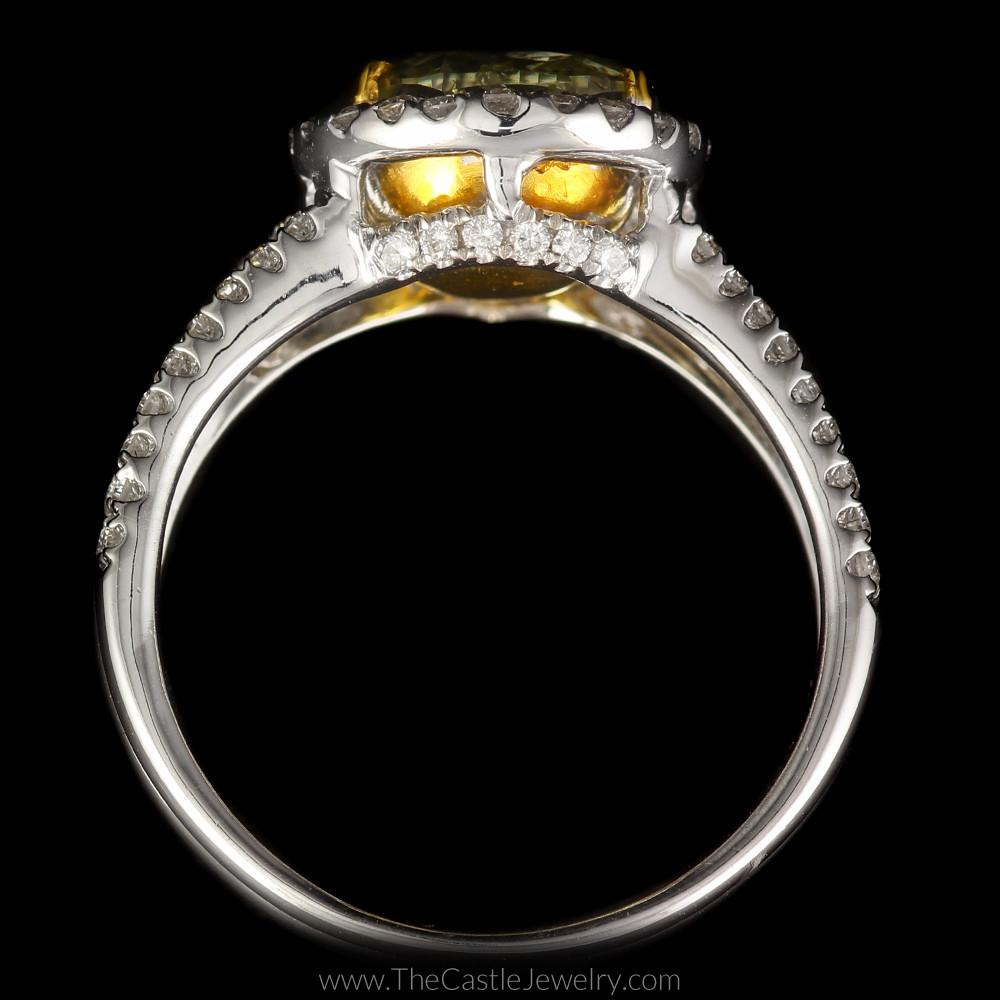Natural Yellow Diamond Engagement Ring w/ Diamond Accents in 18K White Gold-1