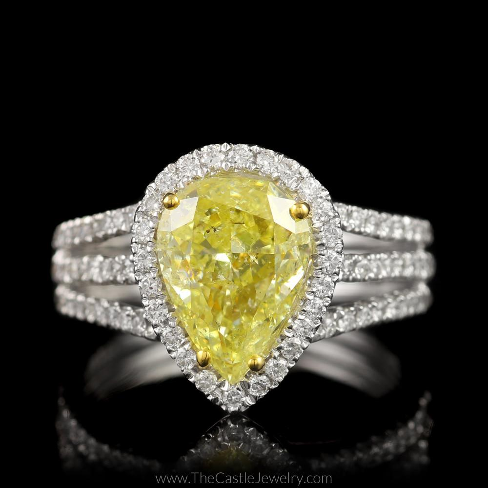 Natural Yellow Diamond Engagement Ring w/ Diamond Accents in 18K White Gold