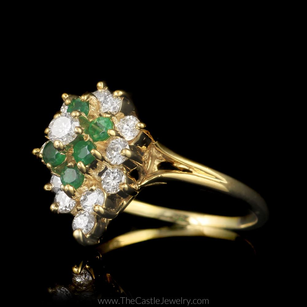 Pear Shaped 1/2cttw Diamond and Emerald Cluster Ring in 14K Yellow Gold-2