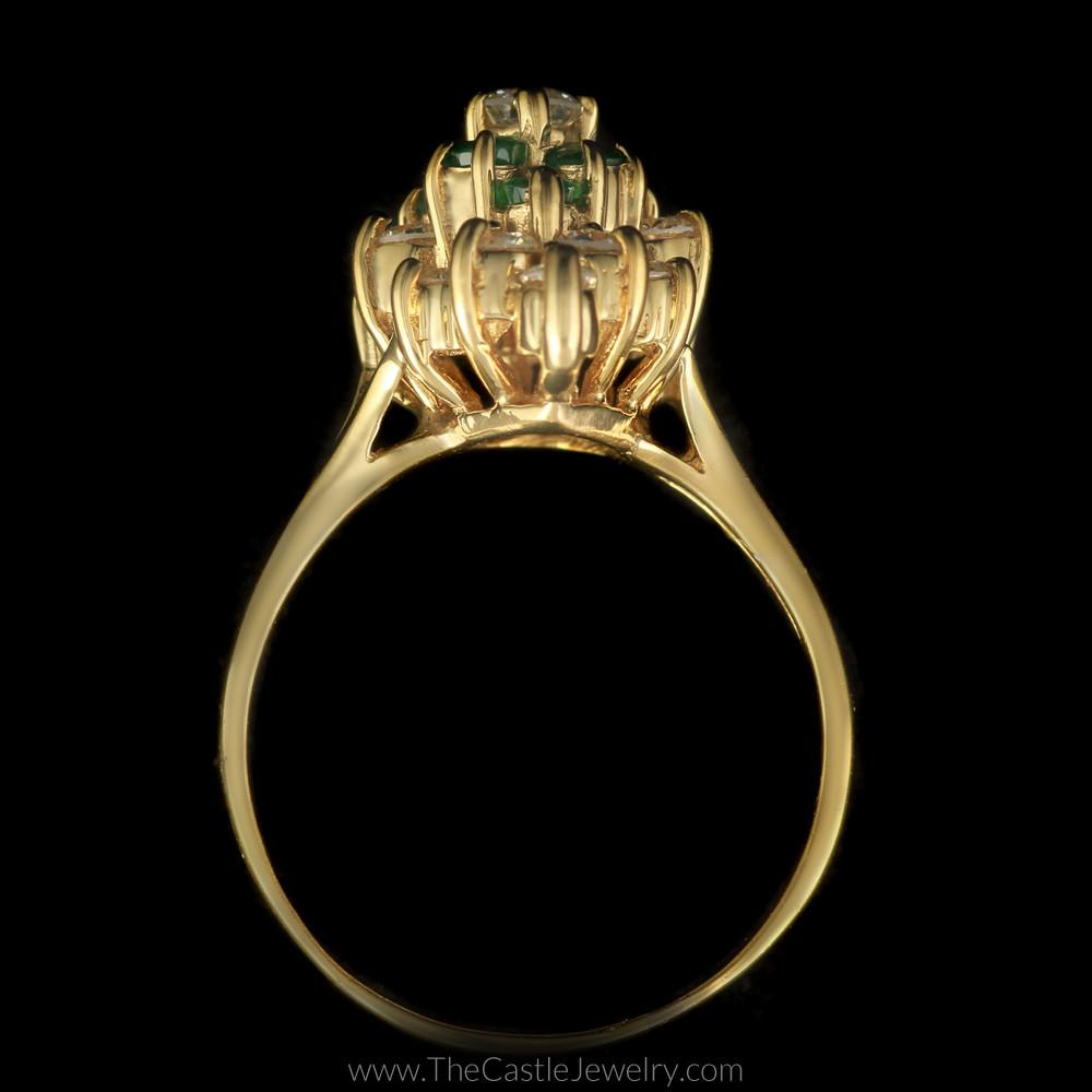 Pear Shaped 1/2cttw Diamond and Emerald Cluster Ring in 14K Yellow Gold-1