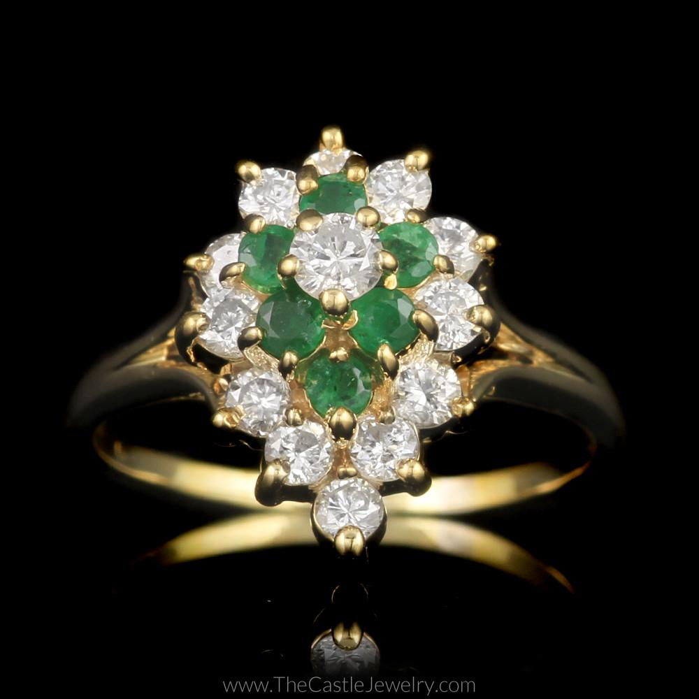Pear Shaped 1/2cttw Diamond and Emerald Cluster Ring in 14K Yellow Gold