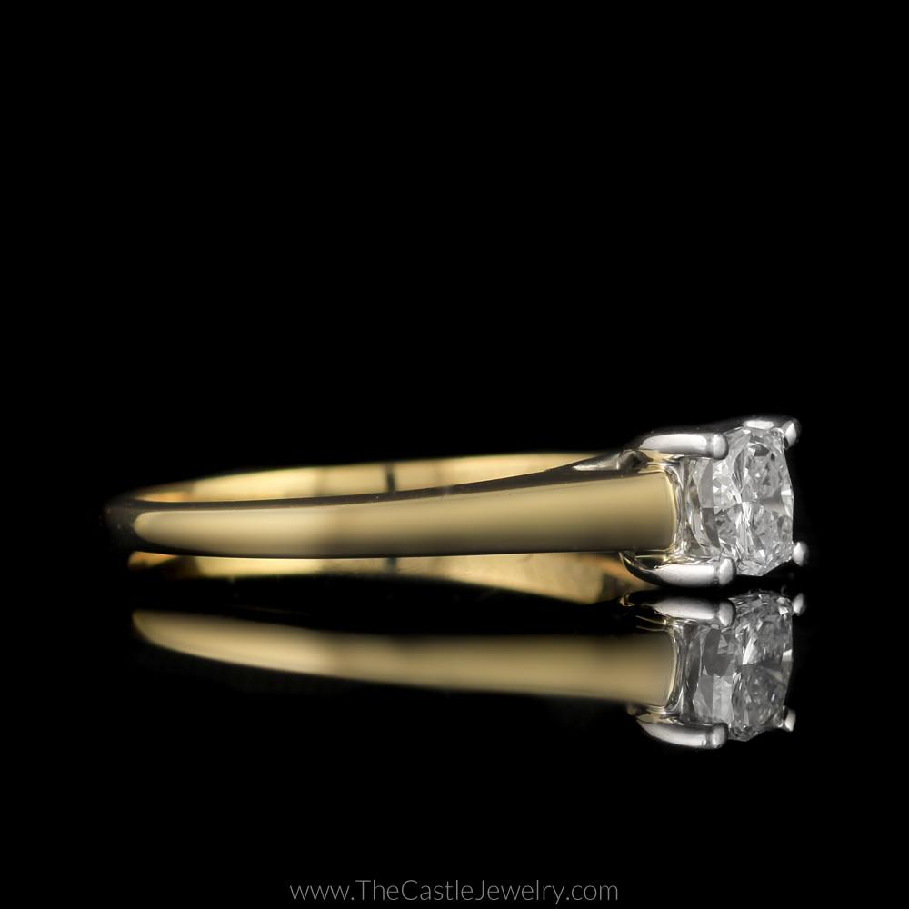 Modern Princess Cut Diamond Solitaire Cathedral Mounting in 18K Yellow Gold-2
