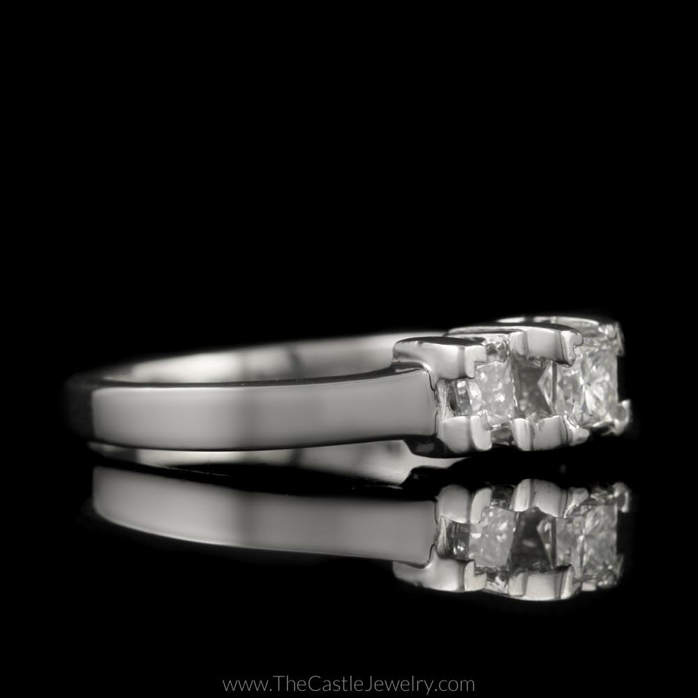 Princess Cut 1cttw DeBeers Style 3 Diamond Ring in Platinum-2
