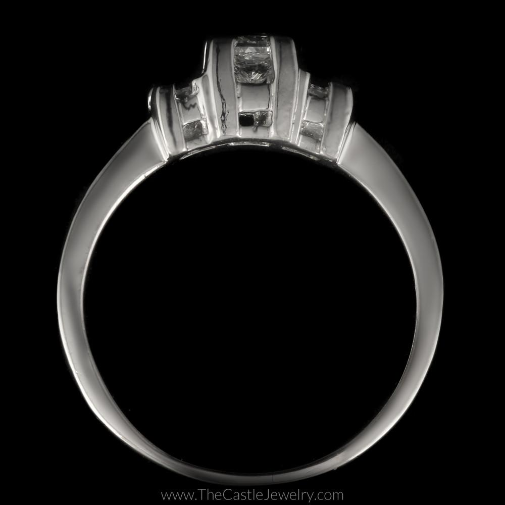 Princess Cut 1cttw DeBeers Style 3 Diamond Ring in Platinum-1