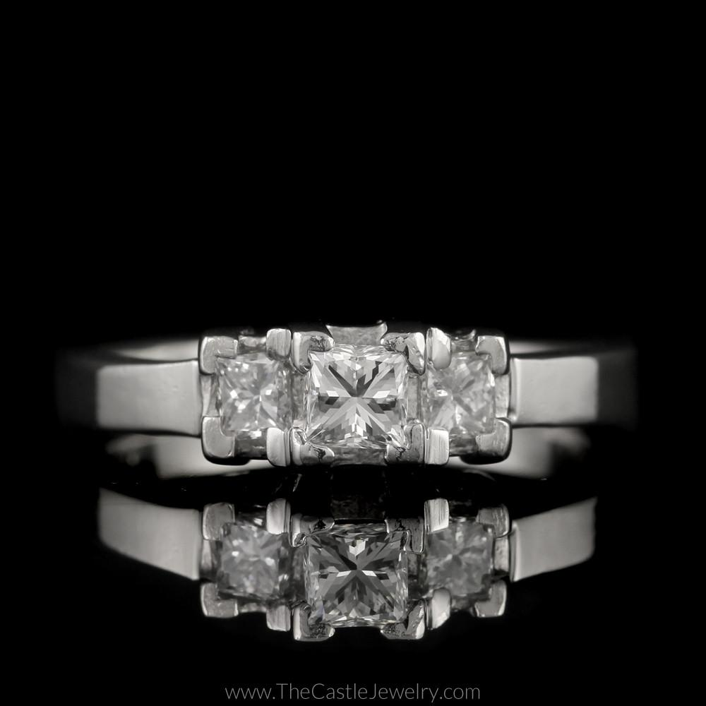 Princess Cut 1cttw DeBeers Style 3 Diamond Ring in Platinum