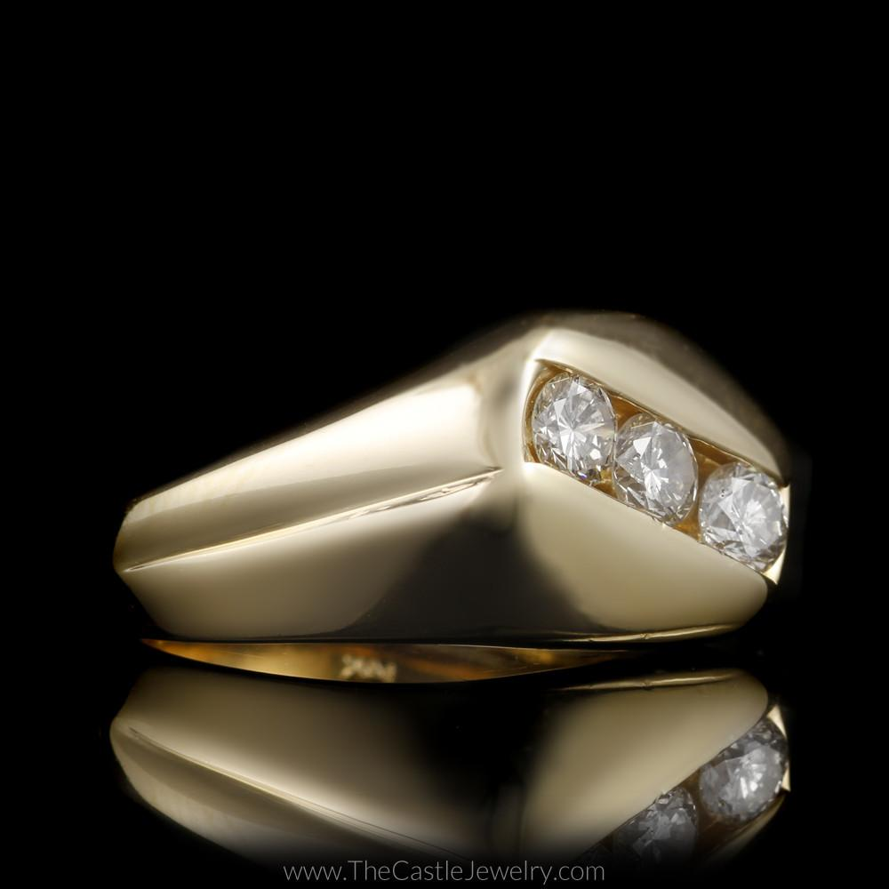 Gent's Diagonal Channel Set Round Brilliant Cut 1cttw Diamond Ring in 14K Gold-2