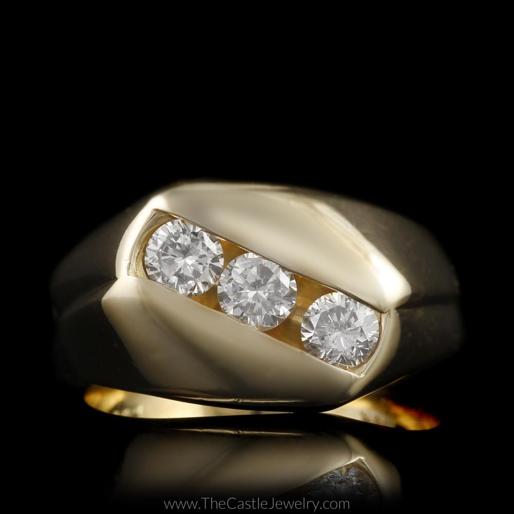 Gent's Diagonal Channel Set Round Brilliant Cut 1cttw Diamond Ring in 14K Gold