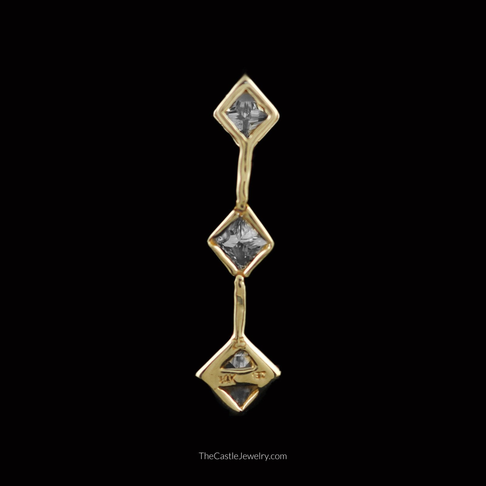 Flexible Princess Cut 1cttw Diamond 3 Stone Pendant in 14K Yellow Gold-1