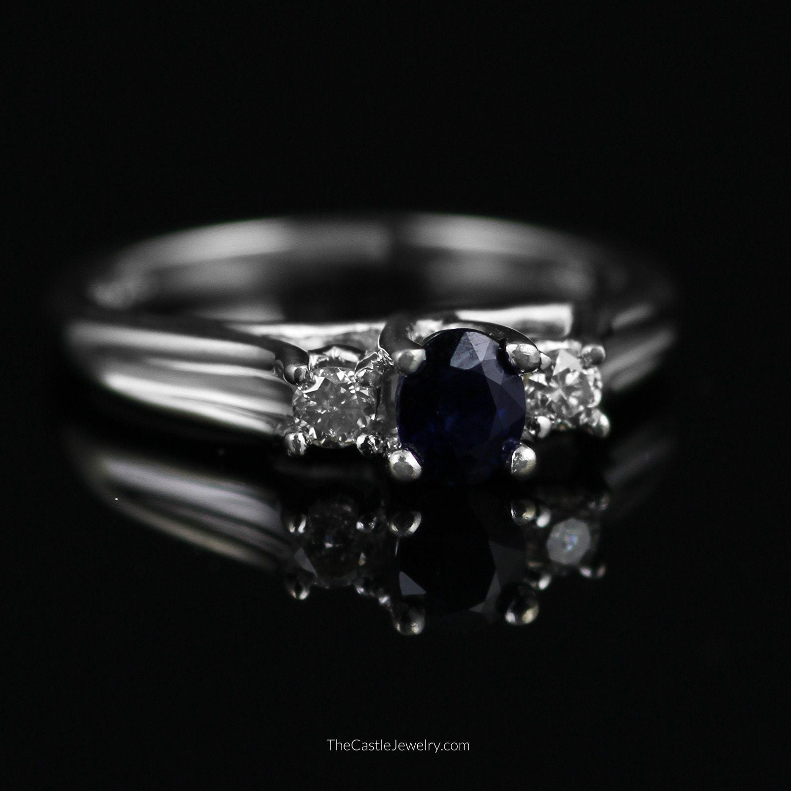 Oval Sapphire with Diamond Accents in 10K White Gold