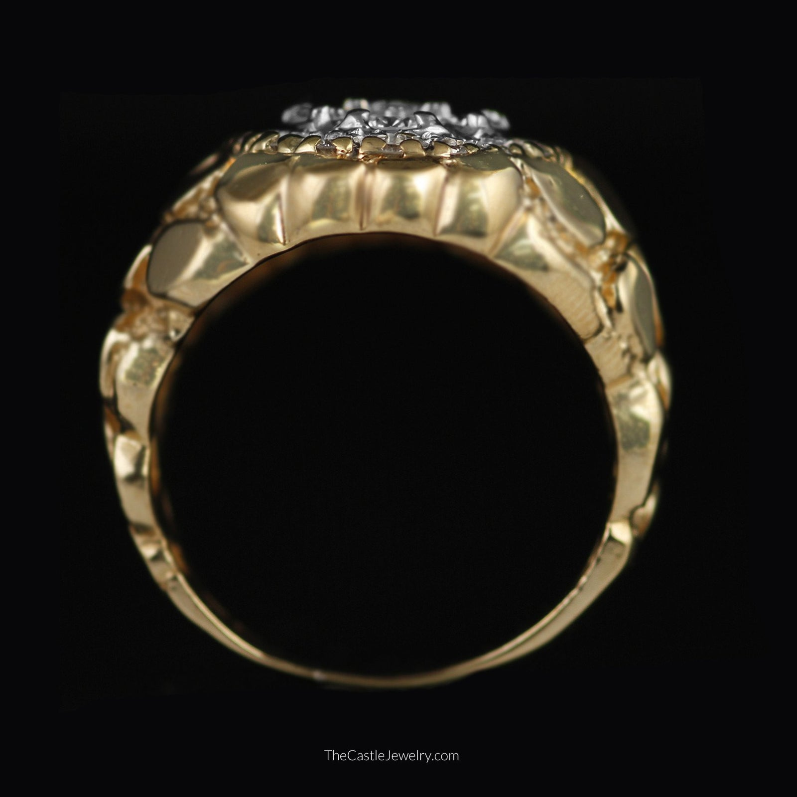 Gents Oval Diamond Cluster Ring with Nugget Designed Sides in 14K Gold-1