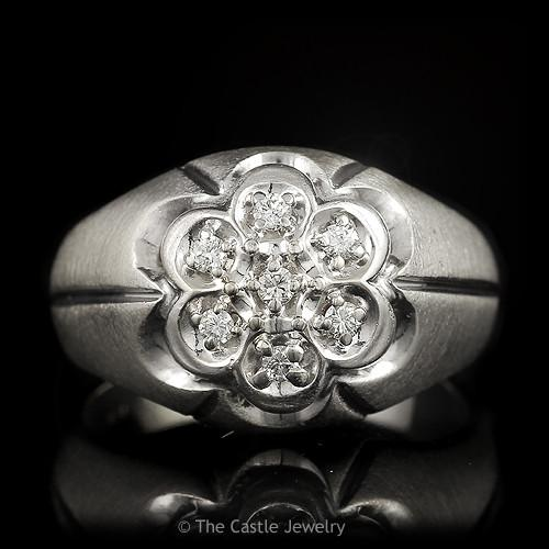 Round 7 Diamond .20cttw Cluster Ring in 14k White Gold