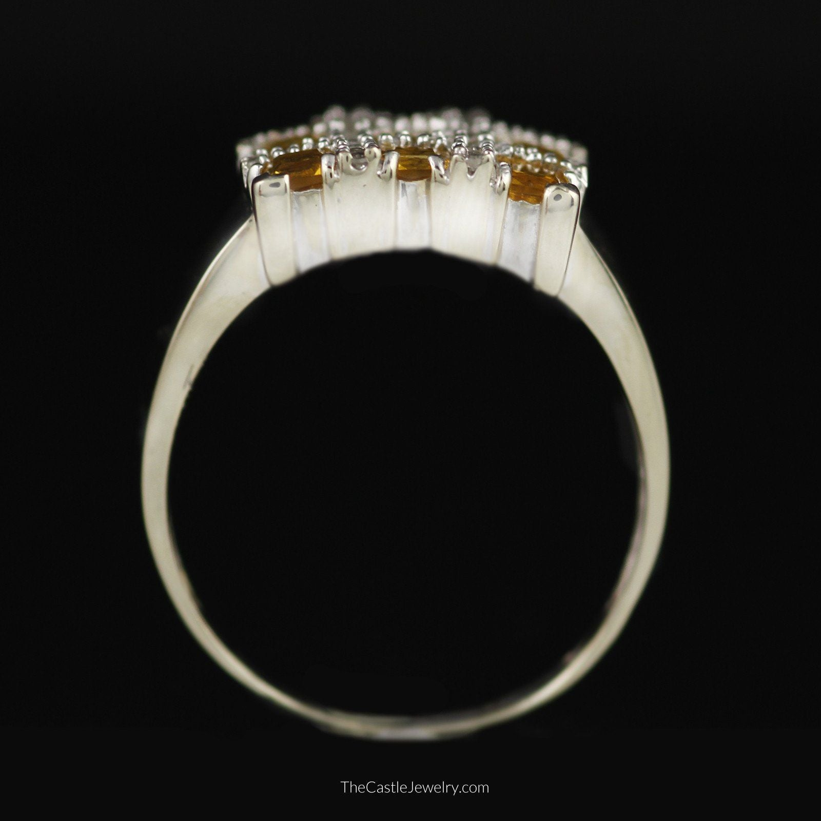 Square Shaped Grid Design Citrine and Diamond Ring in 10K White Gold-1