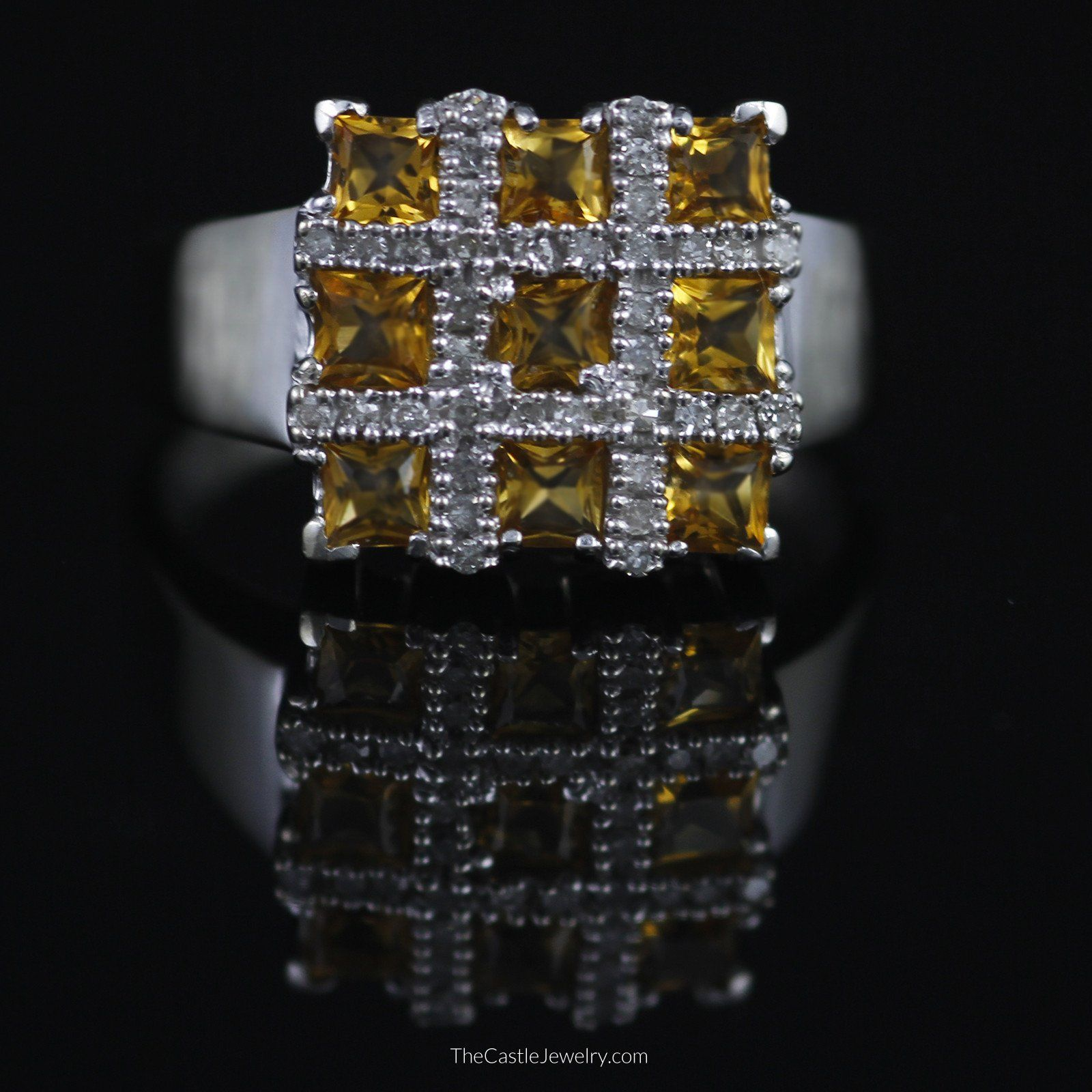 Square Shaped Grid Design Citrine and Diamond Ring in 10K White Gold