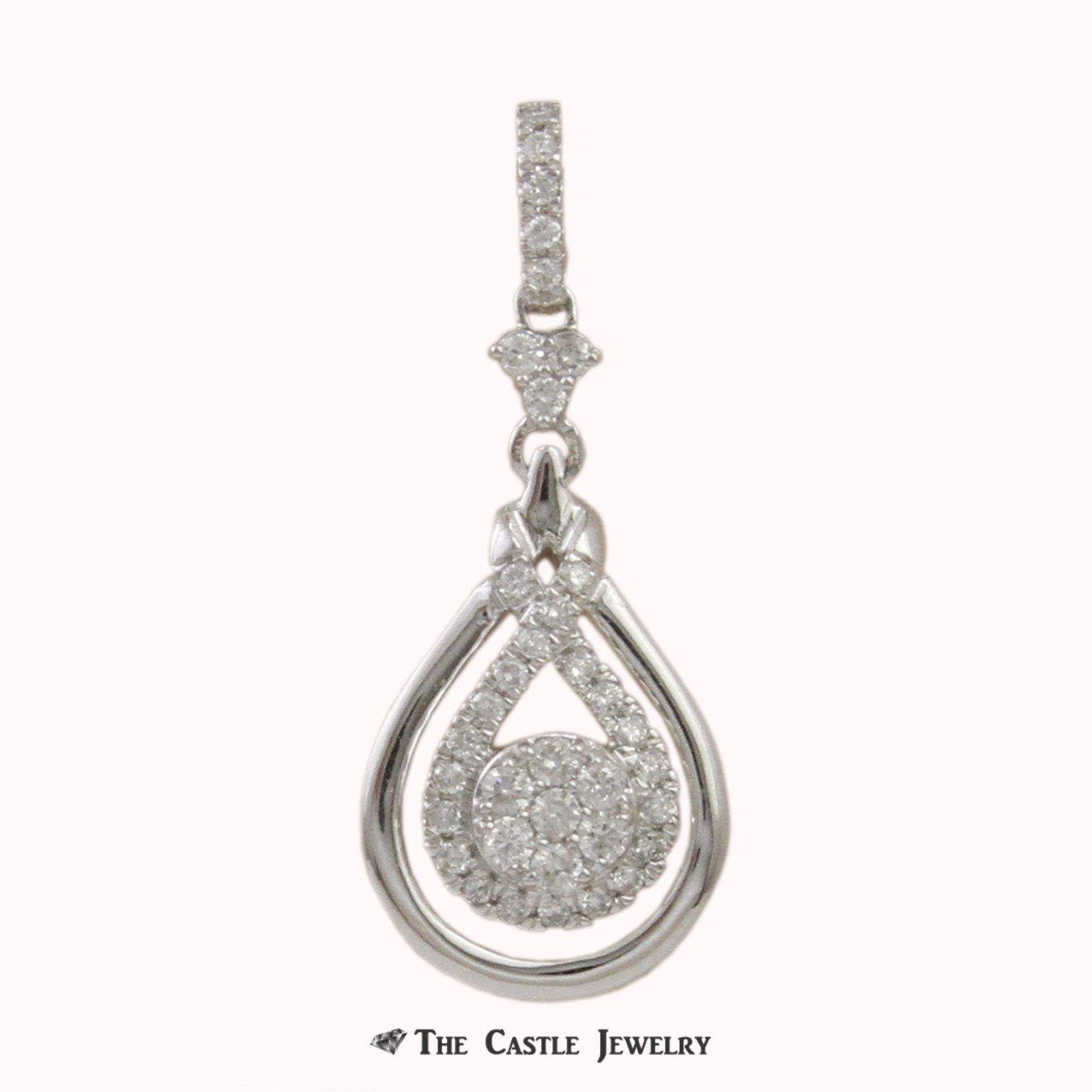 SPECIAL! 1/3cttw Double Looped Interlove Infinity Pendant w/ Cluster Center in White Gold