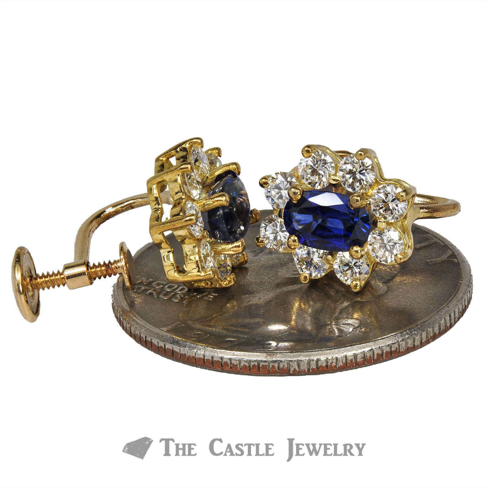 Oval Sapphire Screw On Earrings with Diamond Halo 14K Gold-2