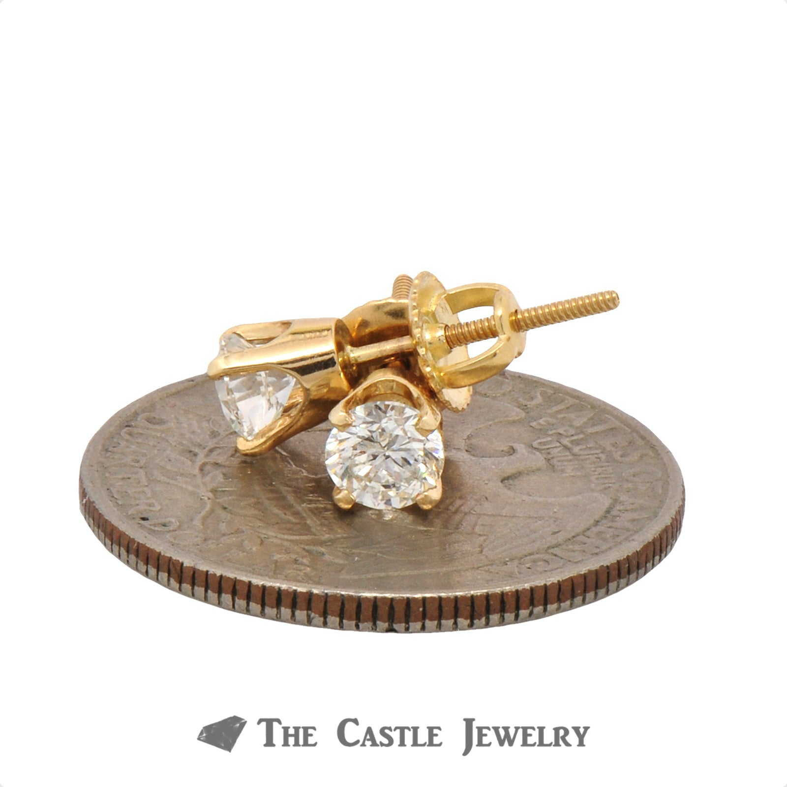.75cttw Round Brilliant Cut Diamond Studs in 14k Yellow Gold-2