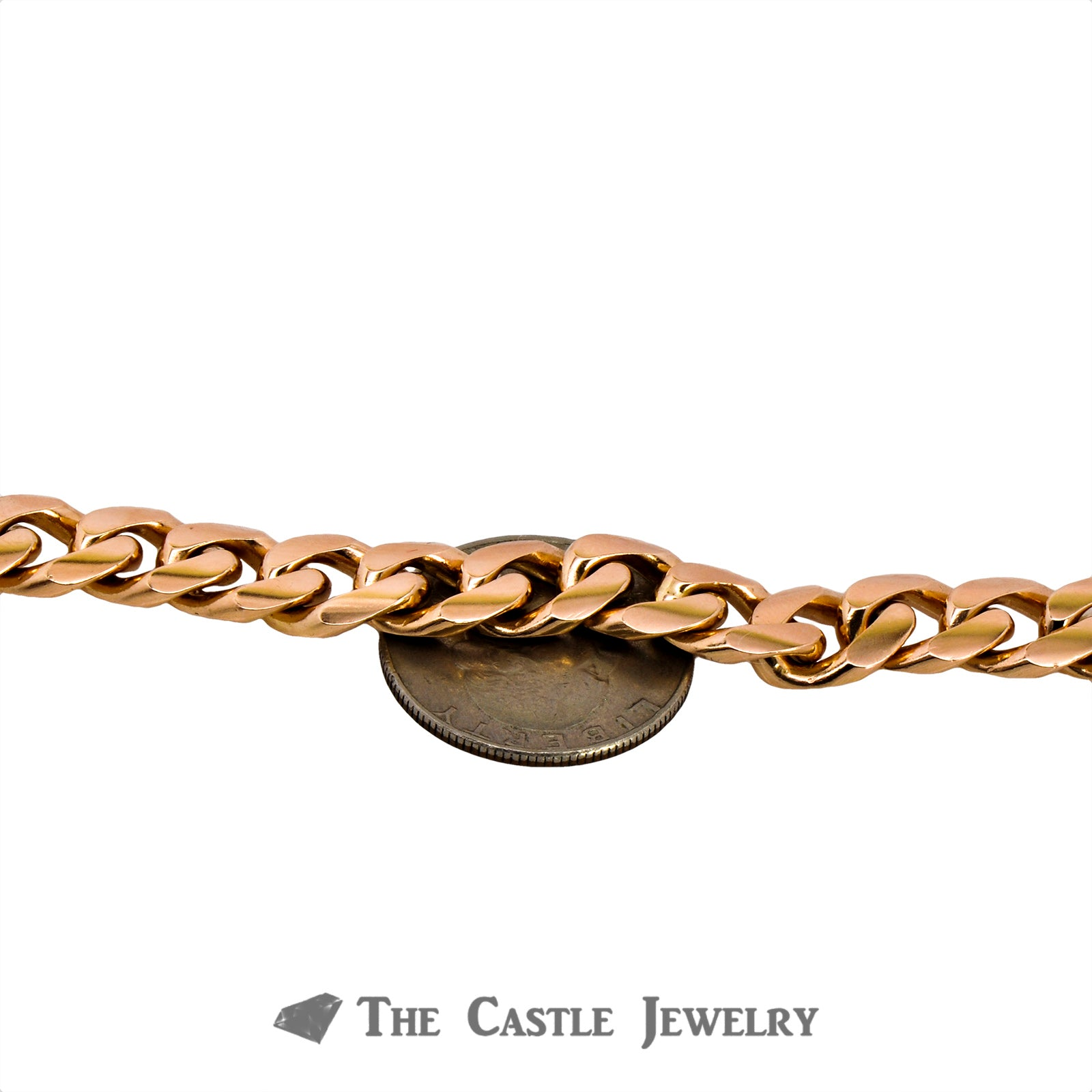 "8.5"" Curb Link Men's Bracelet Crafted in 14K Rose Gold-2"