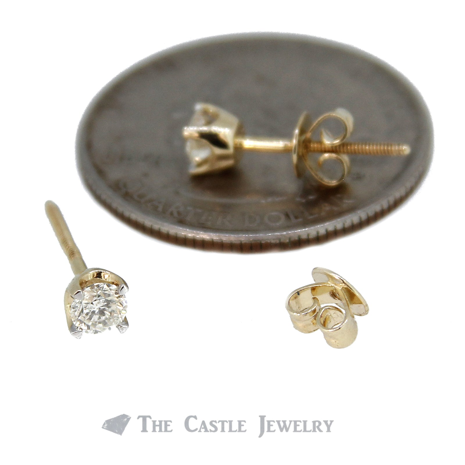Diamond Stud Earrings 1/2cttw with Screw Backs in 14K Yellow Gold-2