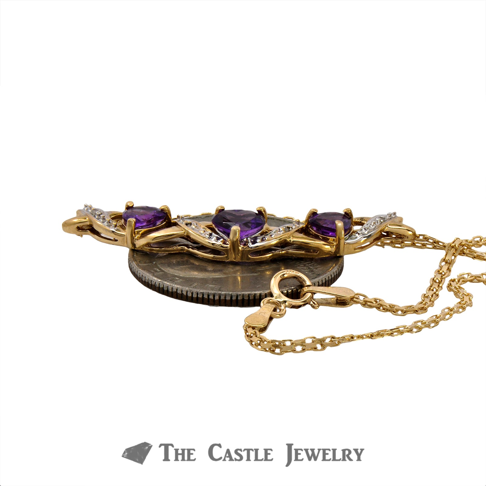 "15.5"" Necklace with Heart Cut Amethyst and .02cttw Diamonds in 10k Yellow Gold"
