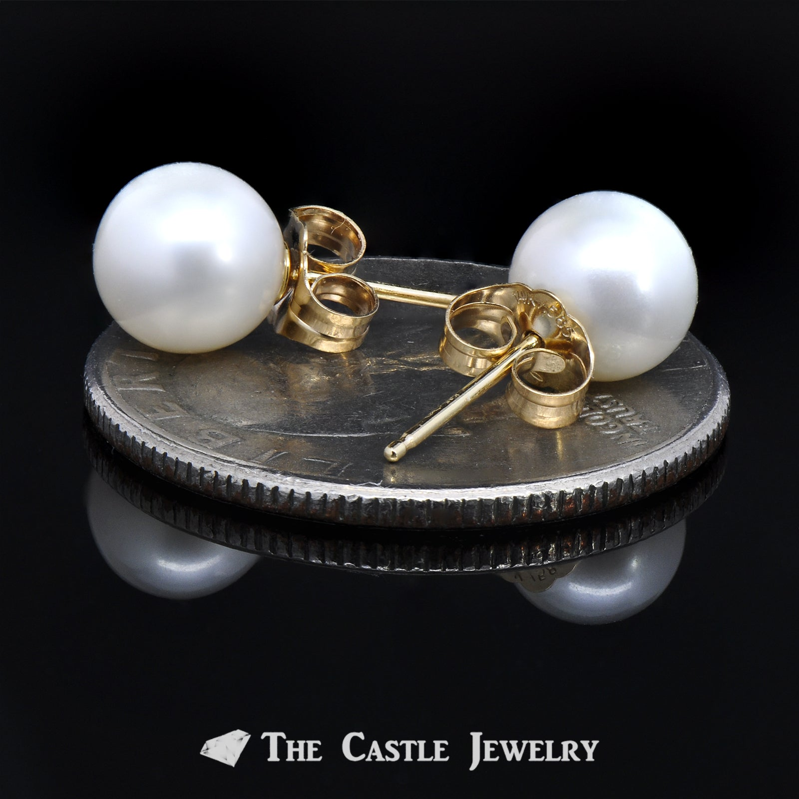 7-7.5mm Pearl Stud Earrings in 14K Gold-2