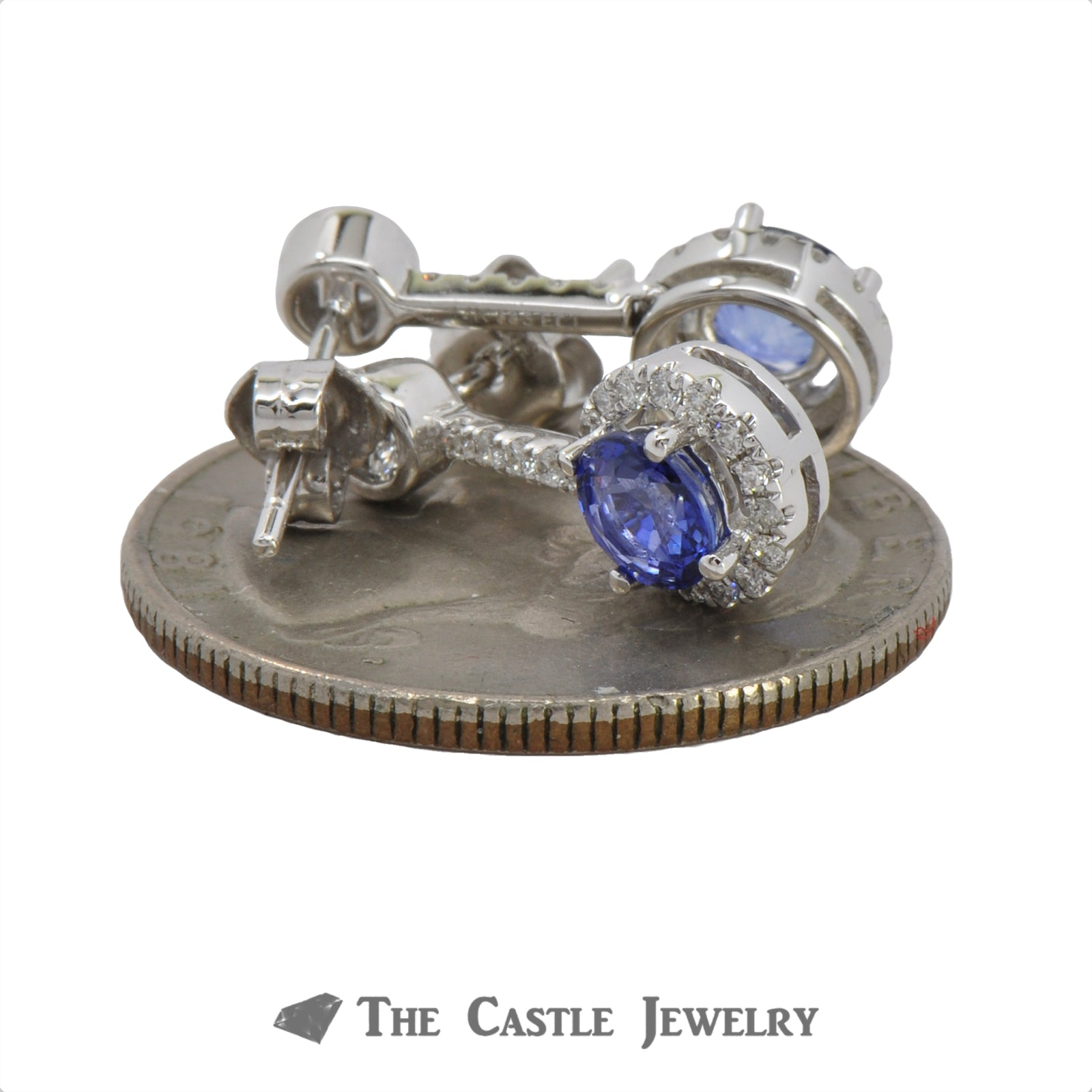 1.28cttw Round Sapphire Earrings with .50cttw Diamond Halo and Accents in 14k White Gold-2