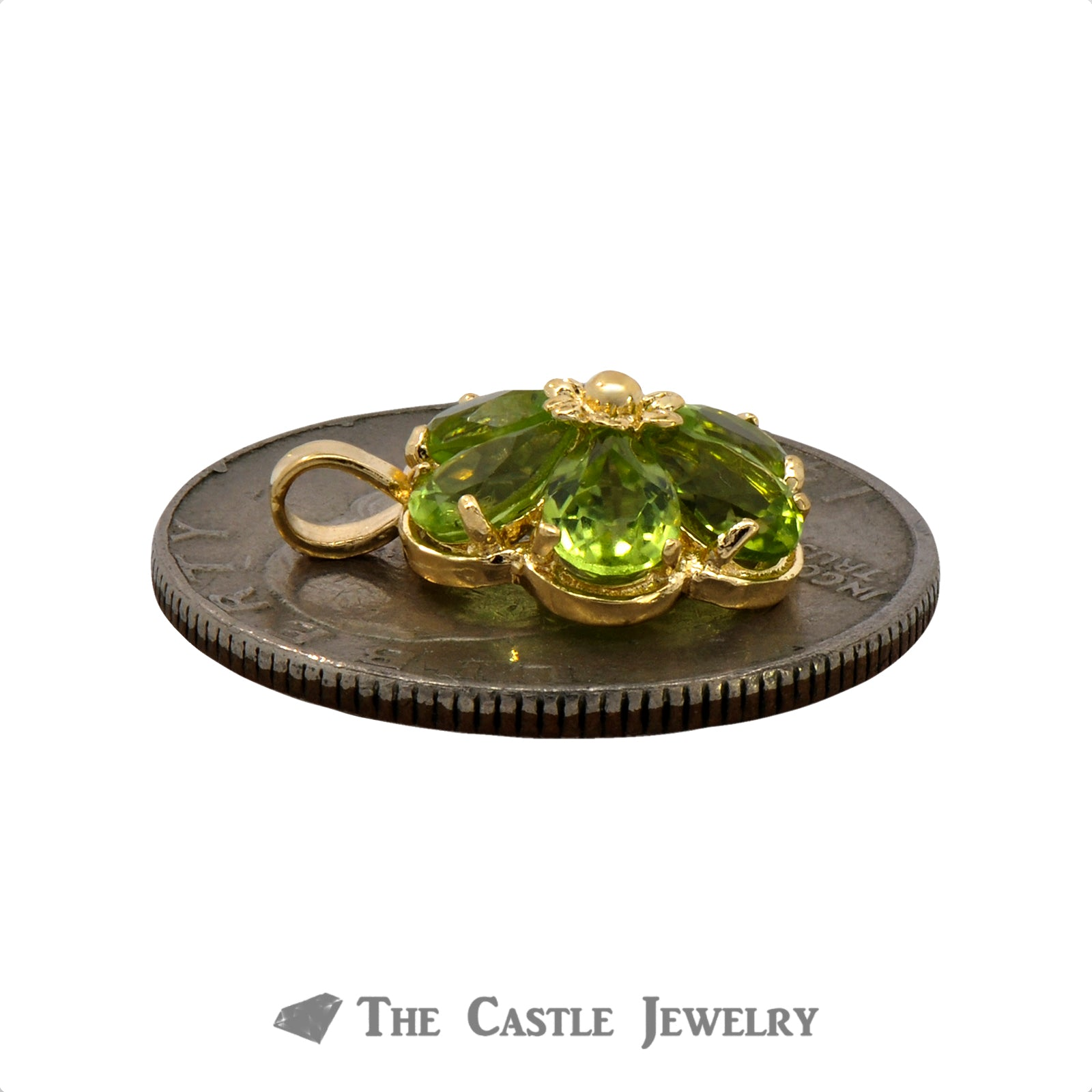 Peridot Flower Pendant in 14K Gold-2