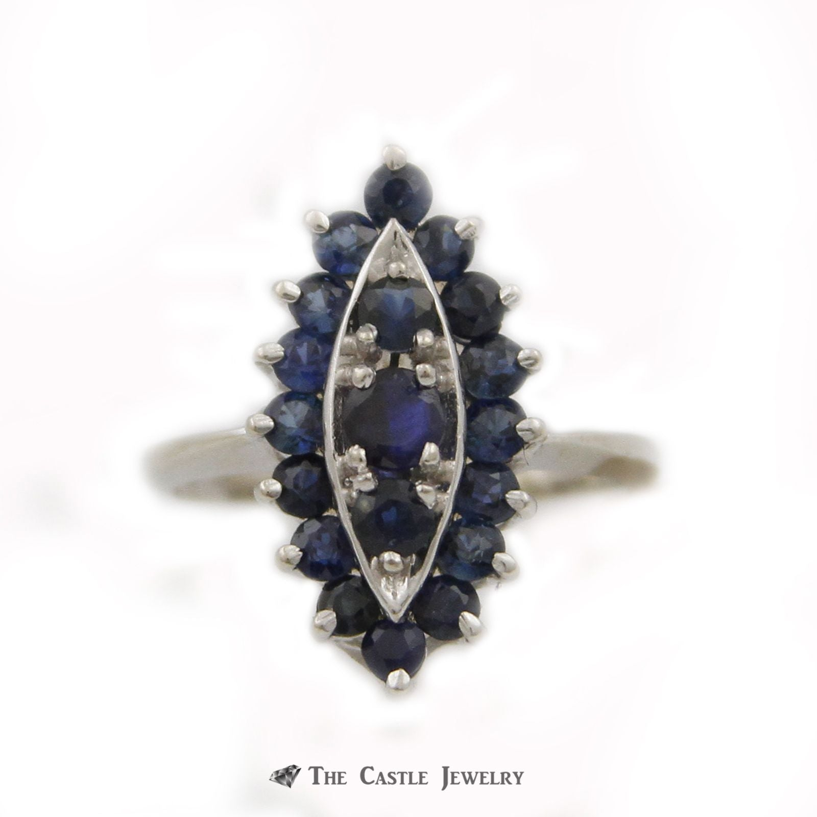 Marquise Shaped Cluster Ring w/ Round Blue Sapphire Gemstones Crafted in 14k White Gold