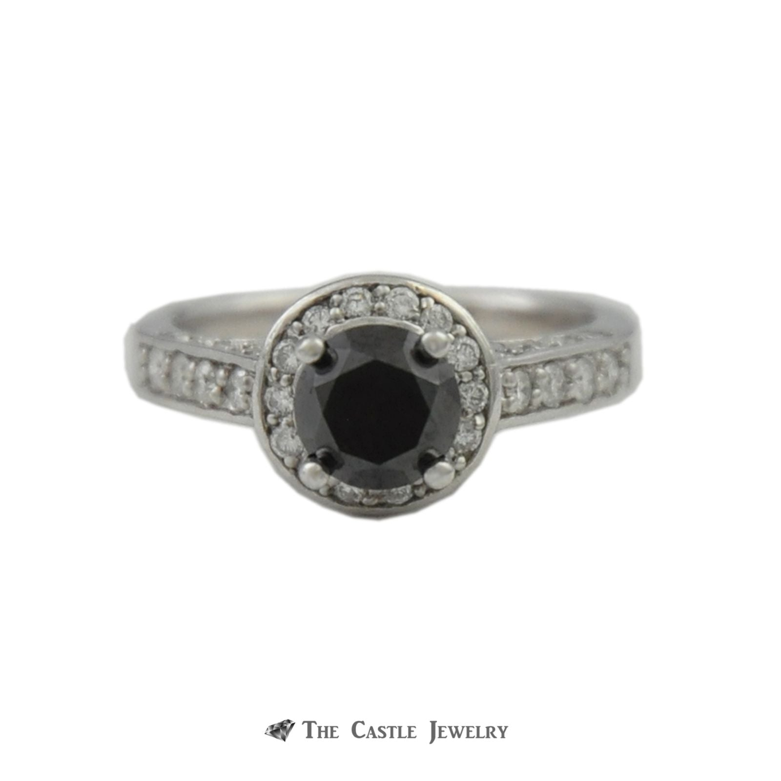 Black Diamond Engagement Ring w. Round Brilliant Diamond Halo, Sides, & Mounting