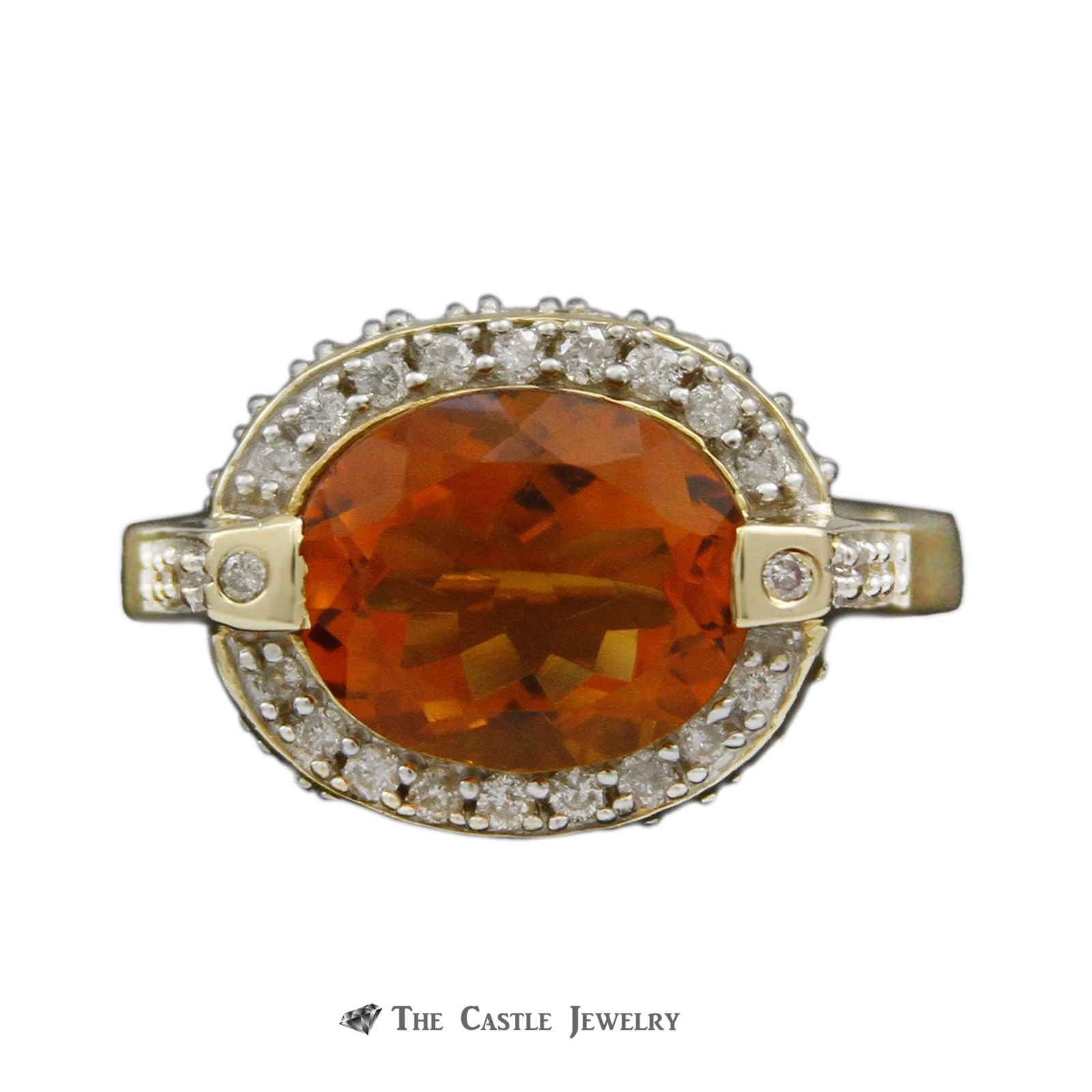Oval Citrine Ring w/ 1/2cttw Diamond Bezel & Cathedral Mounting in 14k Yellow Gold