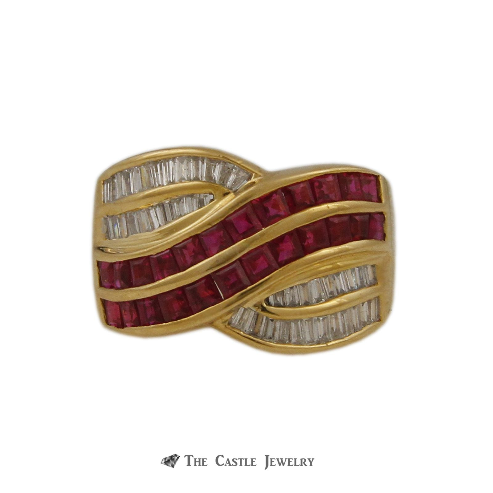 Le Vian Square 1.75cttw Ruby & .50cttw Baguette Diamond Cross Over Style Ring in 18k Yellow Gold