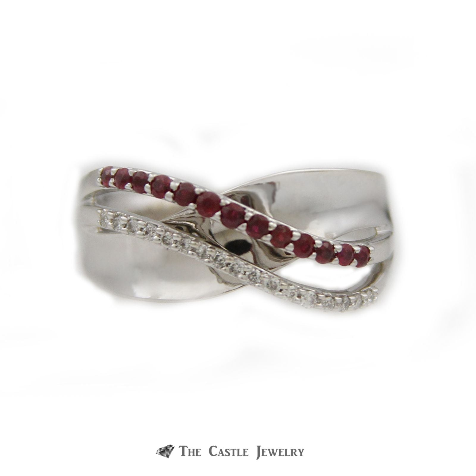 Round Ruby & Diamond Open Cross Over Design Ring w/ .10cttw Round Diamonds in White Gold