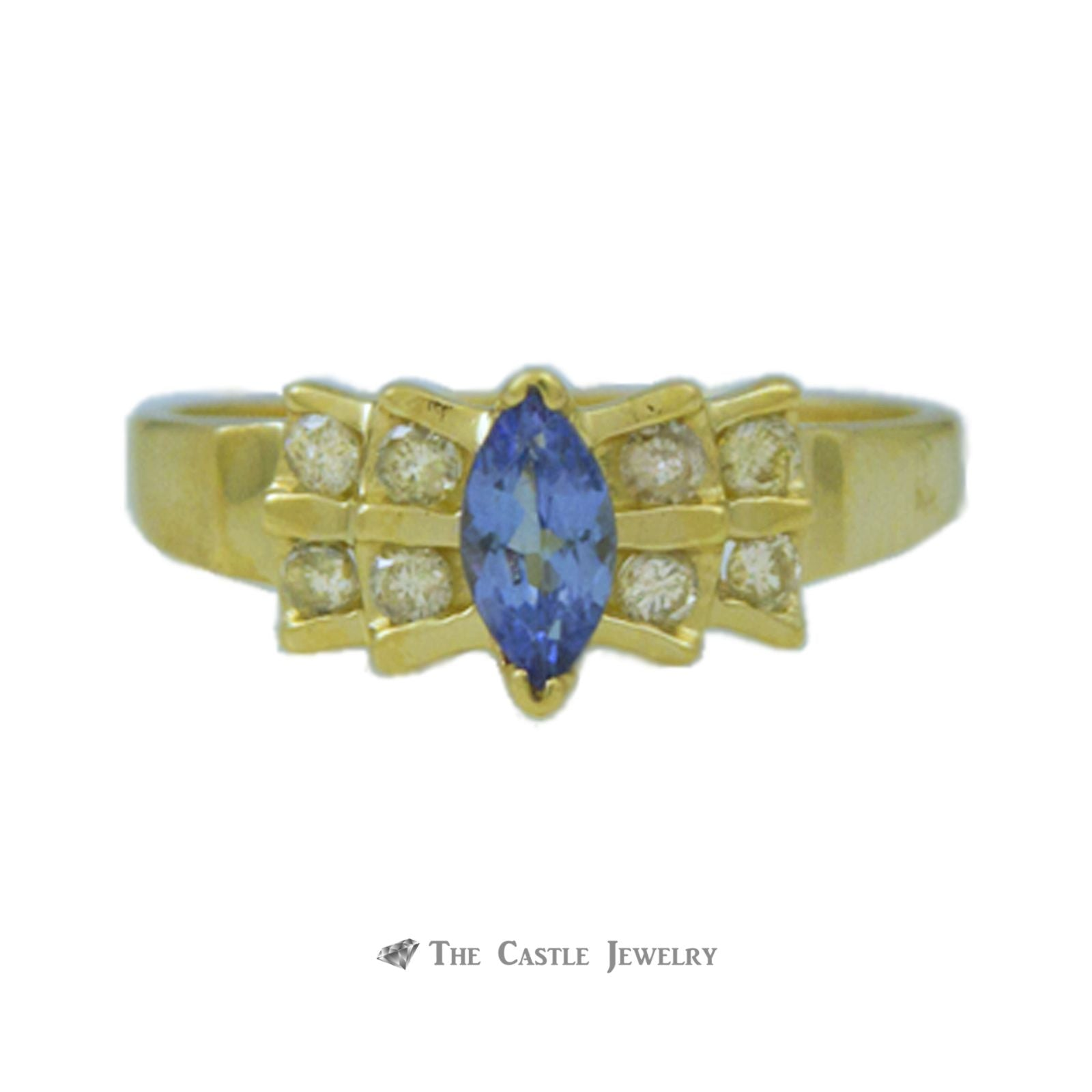 Marquise Tanzanite Ring in Bow Design Diamond Mounting 14K Gold-0