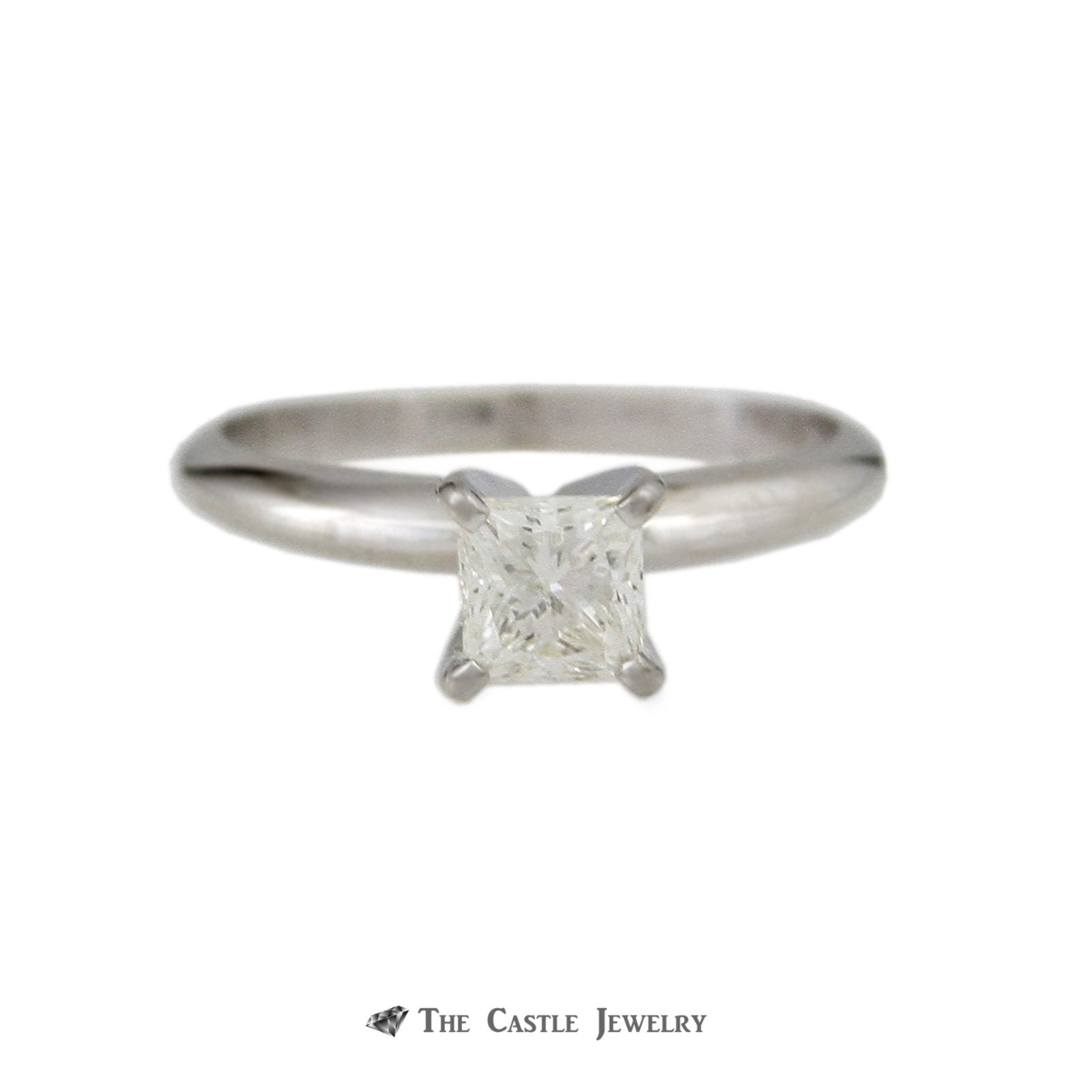 Princess Cut .50ct Diamond Solitaire Engagement Ring in 14k White Gold