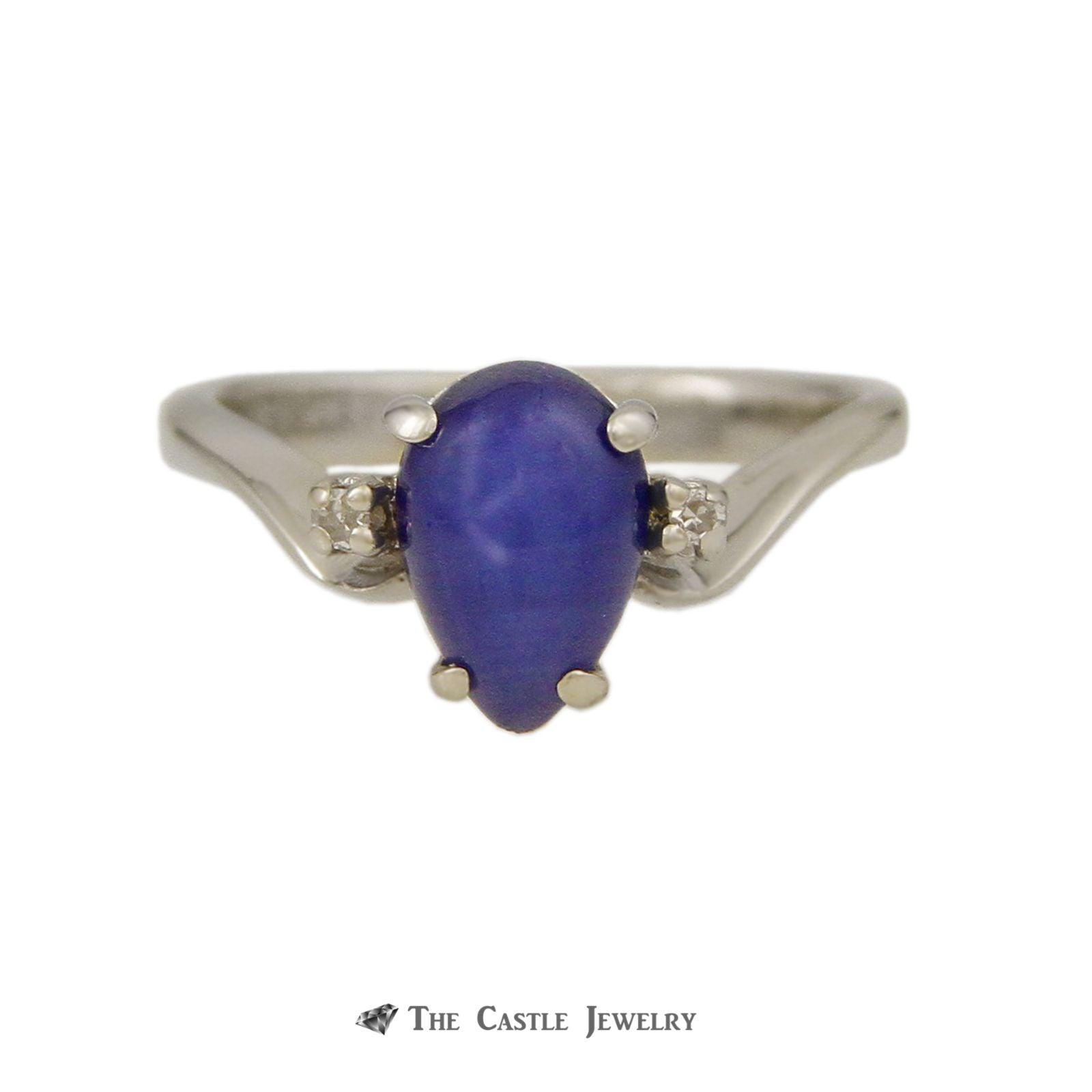 Blue Lindy Star Ring in 14K White Gold