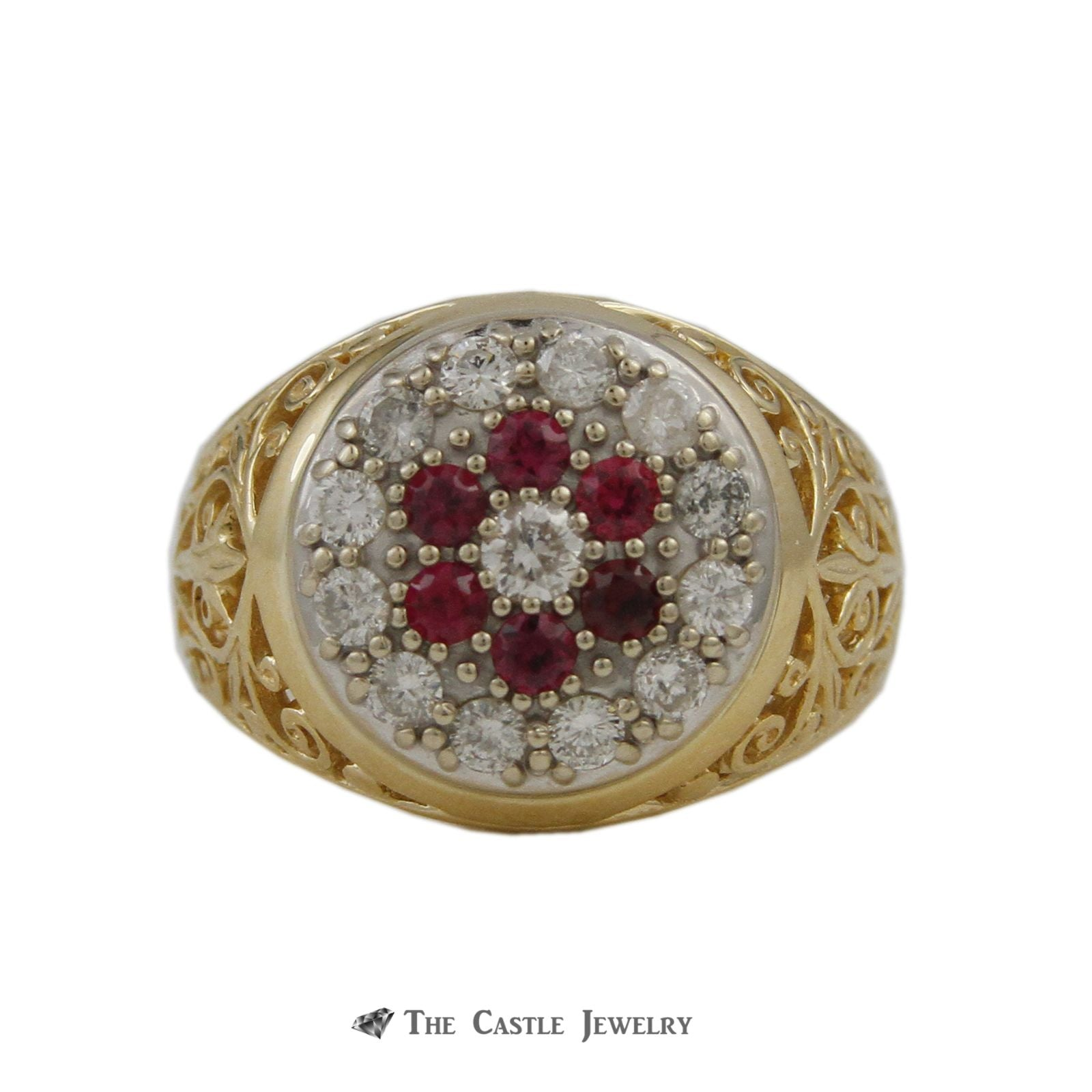 Gent's Round Ruby & .75cttw Diamond Kentucky Cluster Ring w/ Scroll Design Sides