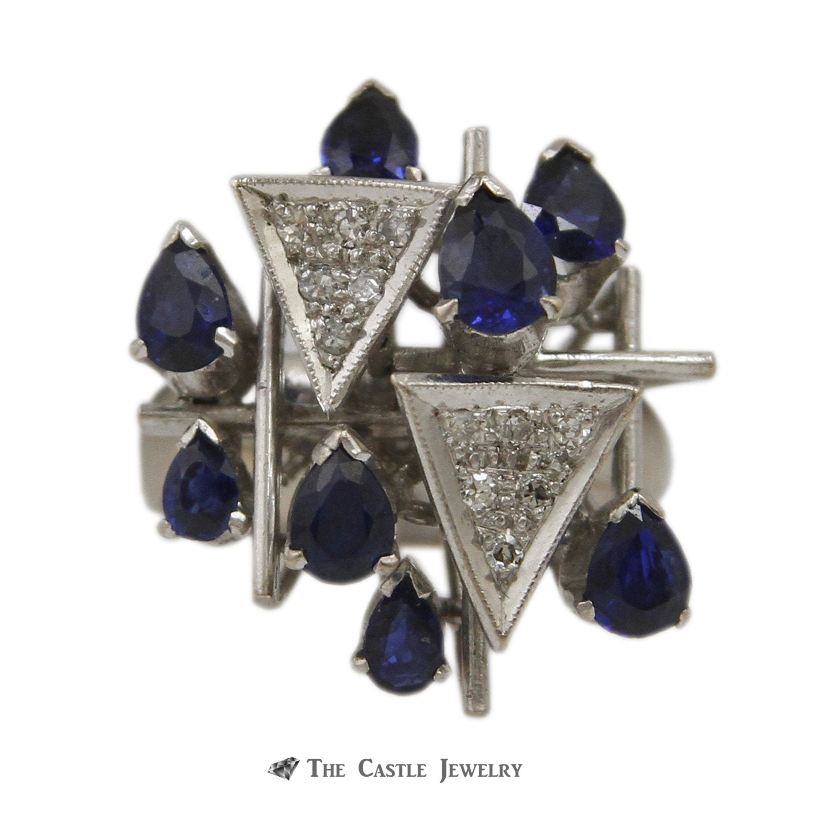 Art Deco Pave Diamond Clusters Accented with Pear Shaped Sapphires in White Gold