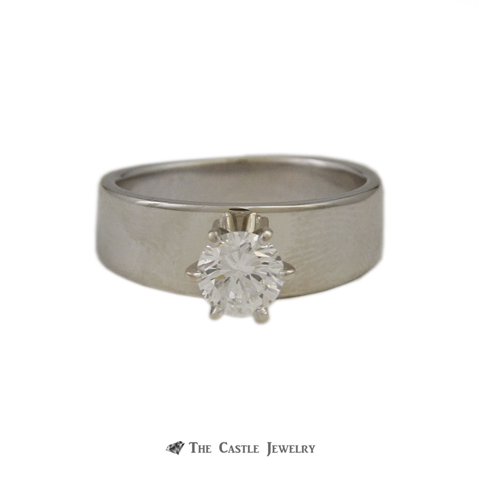 .75ct Round Brilliant Cut Diamond Engagement Ring VS2-H in Wide Tapered Mounting