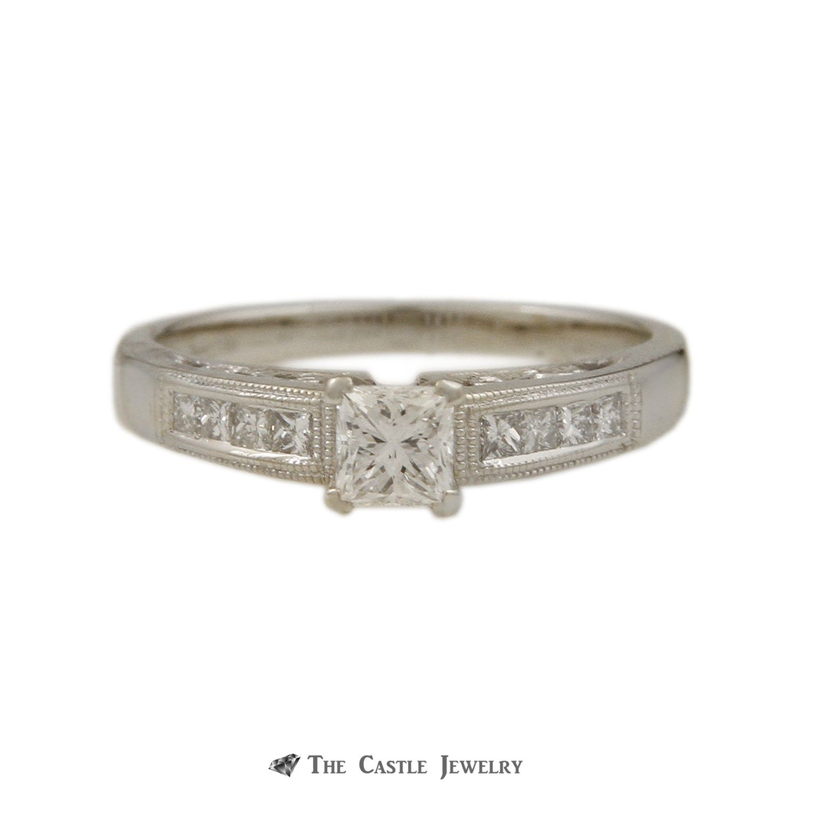 Princess Cut 1/3ct Diamond Engagement Ring with Princess Sides & Beaded Edges