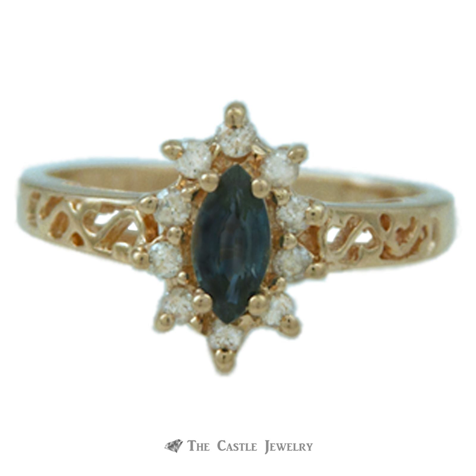 Marquise Sapphire Ring with Diamond Halo & Scroll Mounting in 14K Yellow Gold