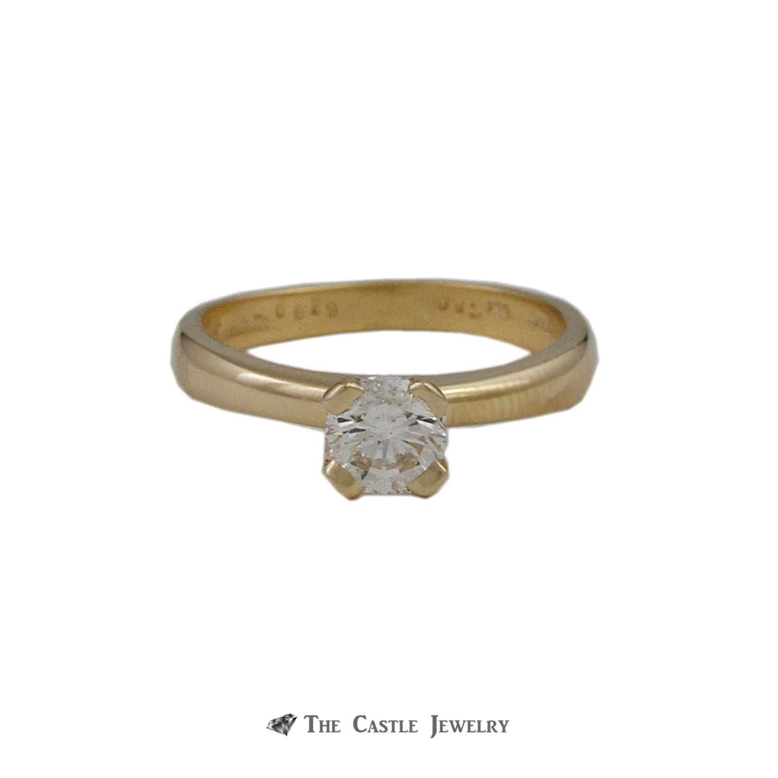Unique Flanders Cut Diamond Solitaire Engagement Ring .80ct SI2-H in Gold